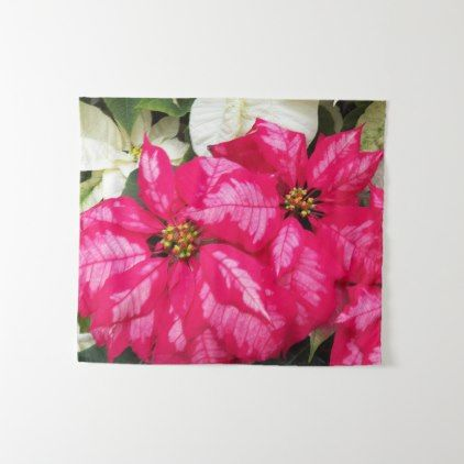 Pink Poinsettias Floral Tapestry - floral style flower flowers stylish diy personalize