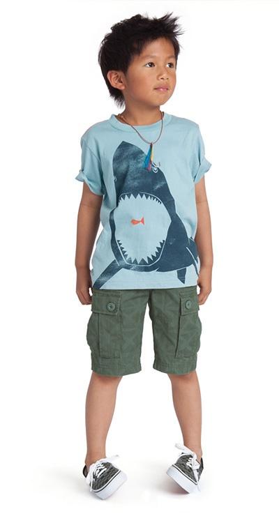 El chico lleva una camiseta azul, los shorts verdes, y zapatos azules.