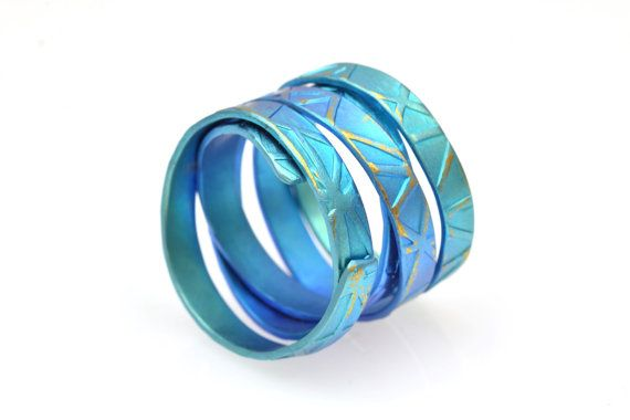 Titanium Ring Wide Bnad Ring Teal Unique Band Ring by Giampouras
