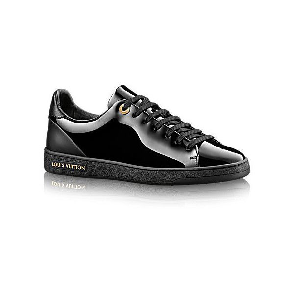 Frontrow Sneaker ($625) ❤ liked on Polyvore featuring shoes, sneakers, louis vuitton, shiny shoes, tennis trainer, patent leather sneakers, patent leather tennis shoes and tennis shoes