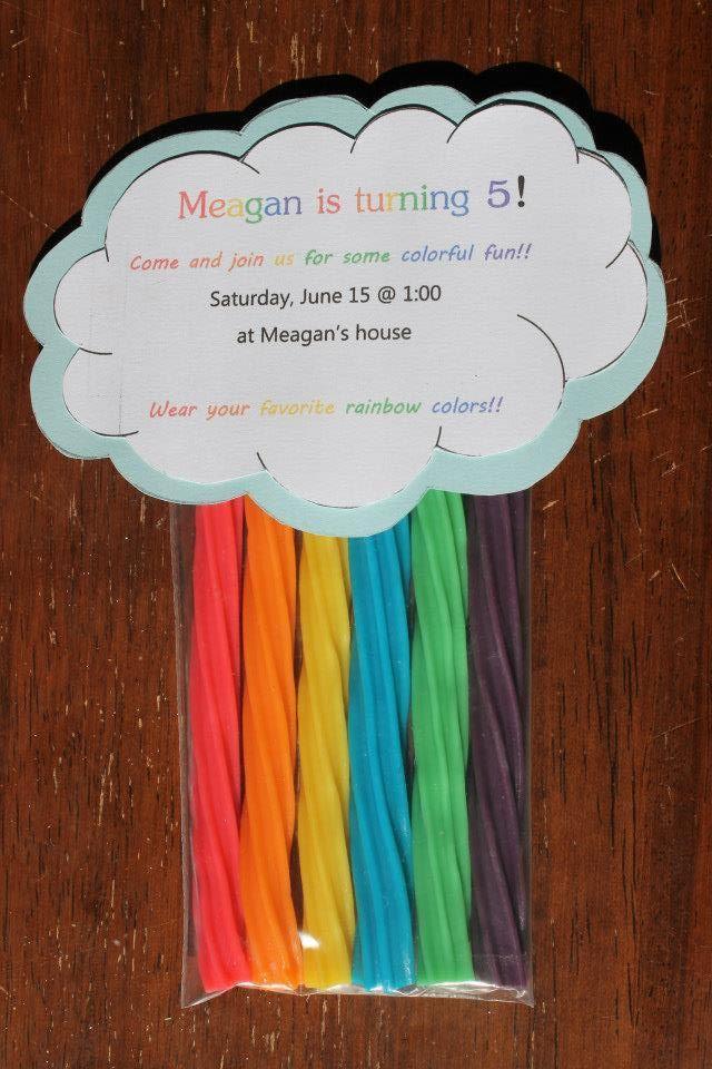 Rainbow birthday Invitations. Rainbow twizzlers!