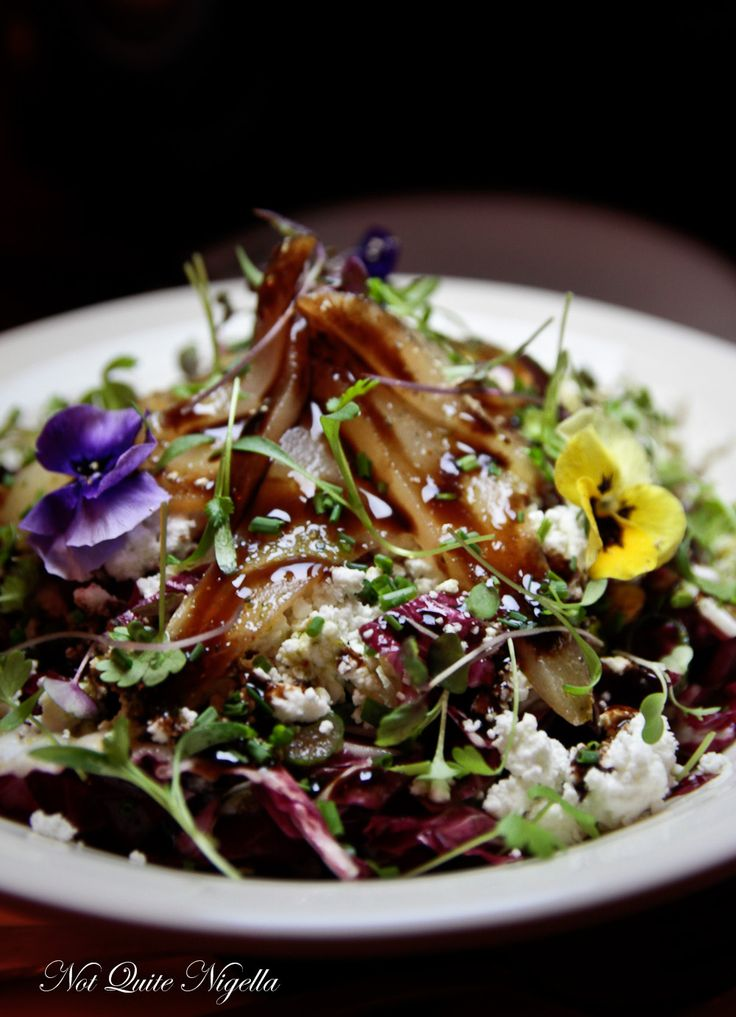 Radicchio salad with vanilla poached pear, pistachio and goat's curd - ALFIE&HETTY