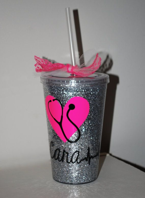 personalized glitter nurse cup by designedbycara on etsy
