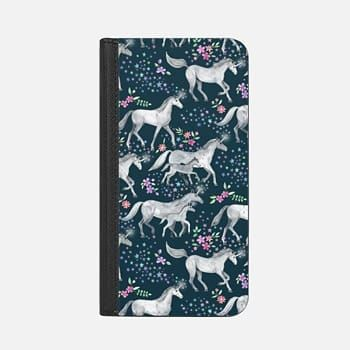 iPhone Wallet Case -  Unicorns and Stars on Dark Teal