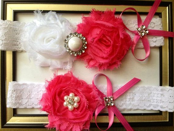SALE - Hot Pink Wedding Garter -  Bridal Garter Set - White Stretch Lace -Hot Pink and White- Pearl Rhinestone embellishment.  ..