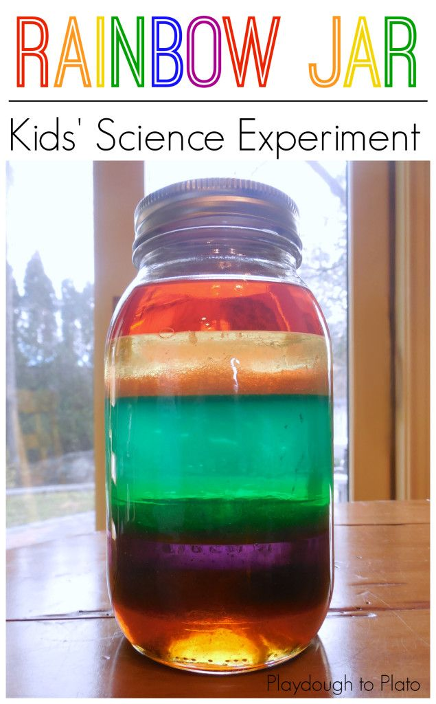 Fun kids' science experiment. Make a rainbow in a jar!! {Playdough to Plato}