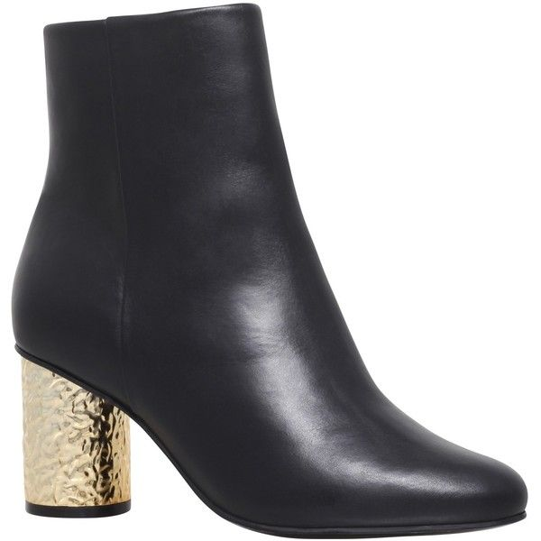 Kurt Geiger Noble Block Heeled Ankle Boots (720 NOK) ❤ liked on Polyvore featuring shoes, boots, ankle booties, black bootie, block heel booties, black block heel booties, black ankle bootie and black flat booties