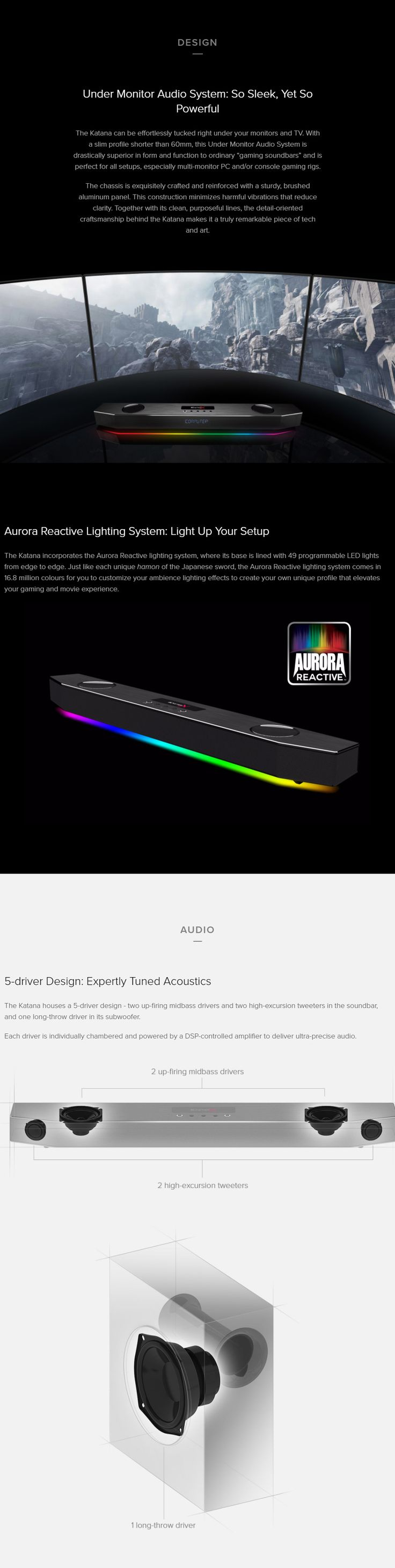 Creative Sound BlasterX Katana RGB Multi-channel Gaming Soundbar available to buy online from PC Case Gear – Australia's Premier Online PC Store.