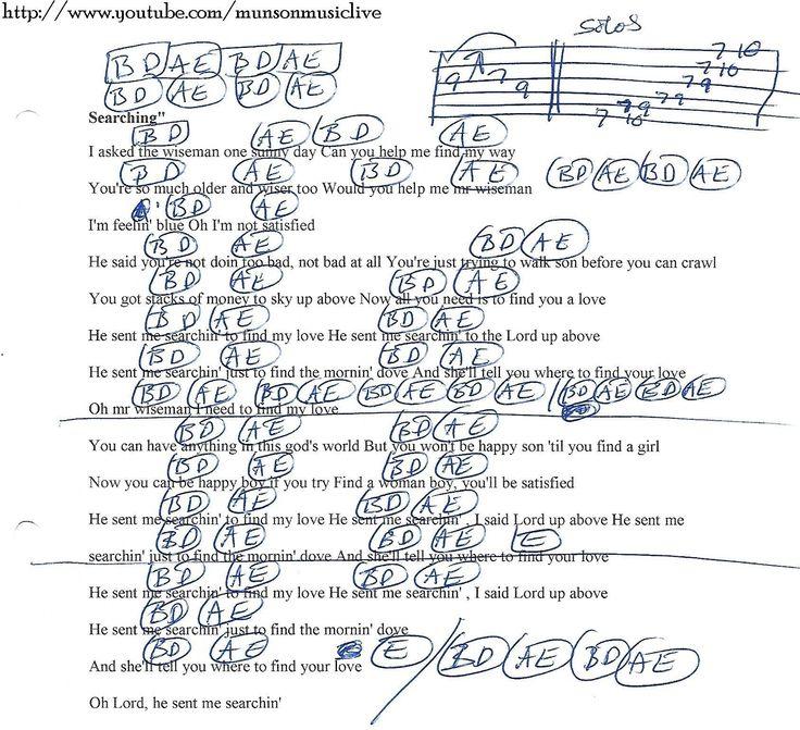 Searchin (Lynyrd Skynyrd) Guitar Chord Chart