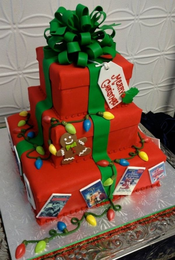 Got to say some of these cakes on Pinterest! incredible! Christmas Gift Box Cake with lights