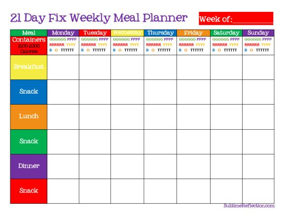 21 Day Fix Meal Plan this is nice to use if you don't have the system