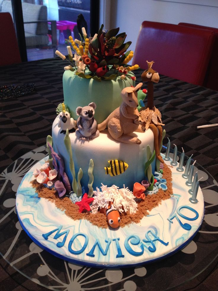 Australian Great Barrier Reef, Animals and Plants Cake