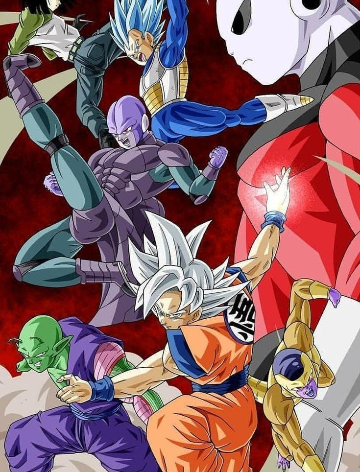 Goku, Piccolo, Vegeta, Android 17, Golden Frieza, Hit, and Jiren