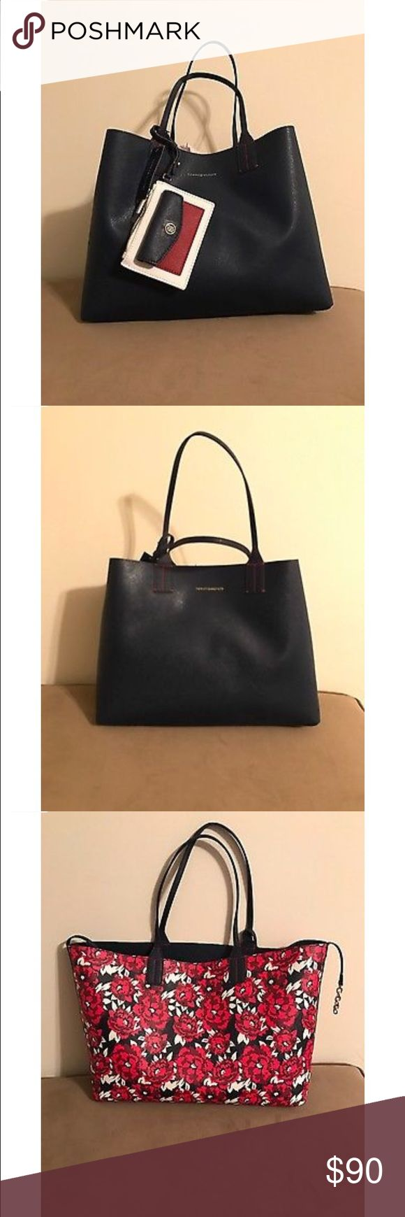 Tommy Hilfiger reversible tote bag Reversible tote bag, navy blue and rose. Brand New with Tags, has never been used. Comes with a detachable wallet Tommy Hilfiger Bags Totes