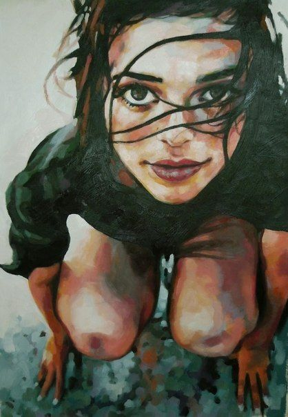 Great foreshortening, I don't know the artist, though!