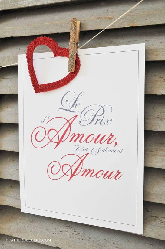 French Love quote:  The Price of Love is Simply Love