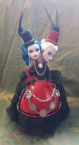 Polly and Pearle are a one of a kind Streampunk Egg Art Doll