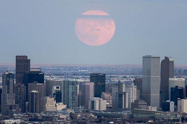 Supermoon 2016 rises over Denver, Colorado. Got lucky and caught an airplane leaving DIA. Low contrast and flat lighting made it difficult to see at first but as it slowly rose the colors started to show. #supermoon #supermoon2016 #colorado #denver #moon #natgeo #awesomepix #bestofday #awesome_earthpix #cnnireport #9news #303