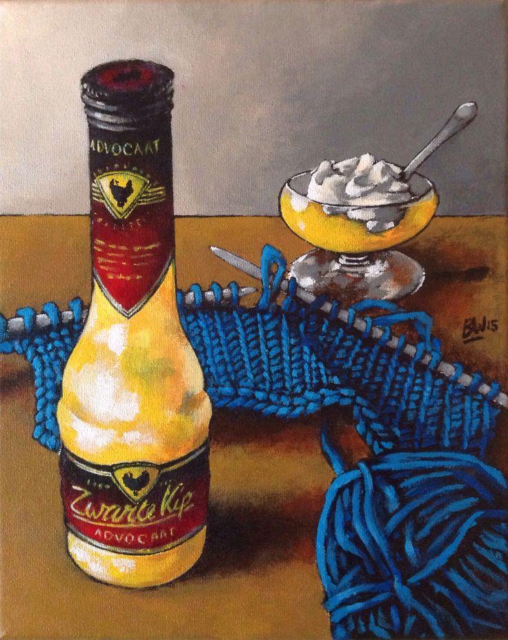 Stilleven. Schilderij acryl op katoen. Zwarte Kip advocaat met breiwerk.   Still life. Acryllic painting on canvas.  Bas Witkamp. www.baswitkamp.com