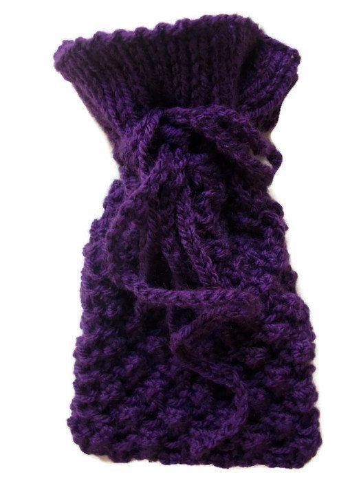 Tarot pouch bag Hand knitted blackberry by thekittensmittensuk, £11.00