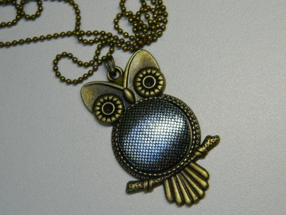Szilver Fabric Button Owl Pendant Girlfriend by LittleRubyAtom