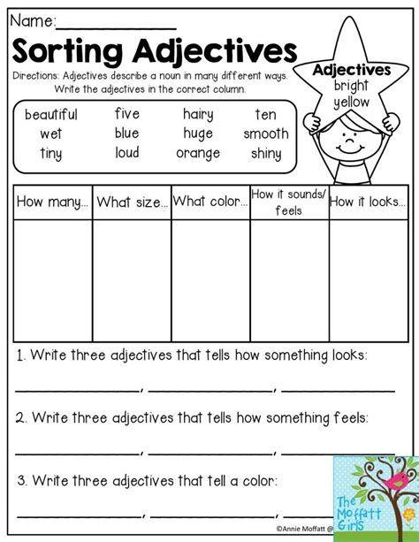 Pin by Samiya on skill   Adjective worksheet, 2nd grade grammar ...