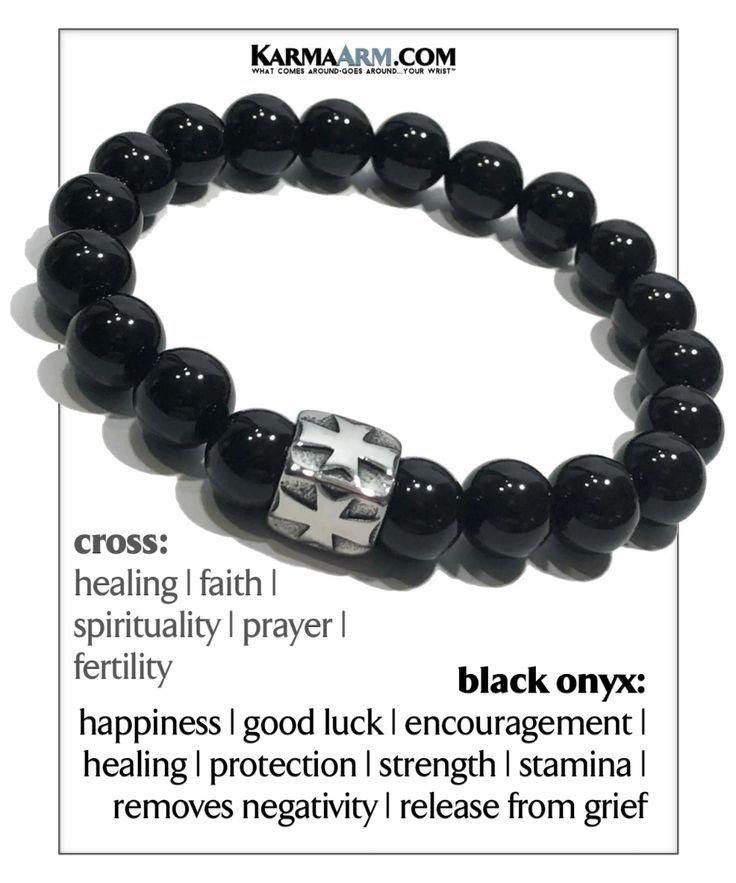 KarmaArm Zen Bracelet Breathe Bead Meditation Bracelet SELF-Care: Black Onyx Reiki Boho Yoga Beaded Meditation Stretch Chakra Jewelry