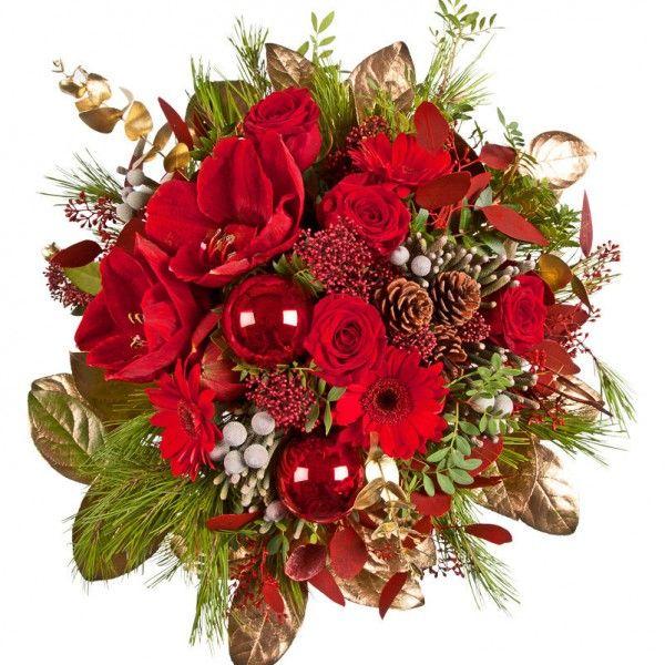 """Pflanzen-Kölle Weihnachtsstrauß """"Weihnachtsglanz"""".  Glanzvolles Schmuckstück für die Vase in weihnachtlich-festlichen Farben. Bezaubernde Geschenkidee für liebe Menschen."""
