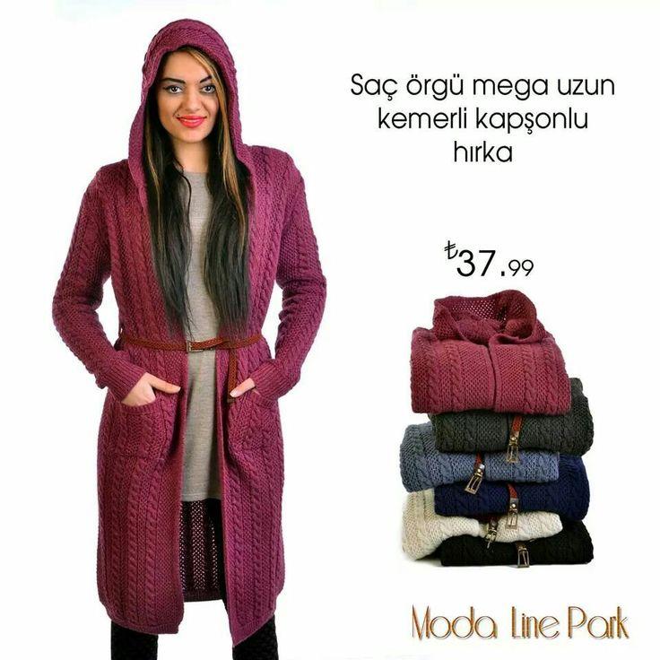 Saç örgü mega uzun kemerli kapşonlu hırka www.modalinestore.com da 0 850 532 0 444 whatsapp iletişim 05492484790