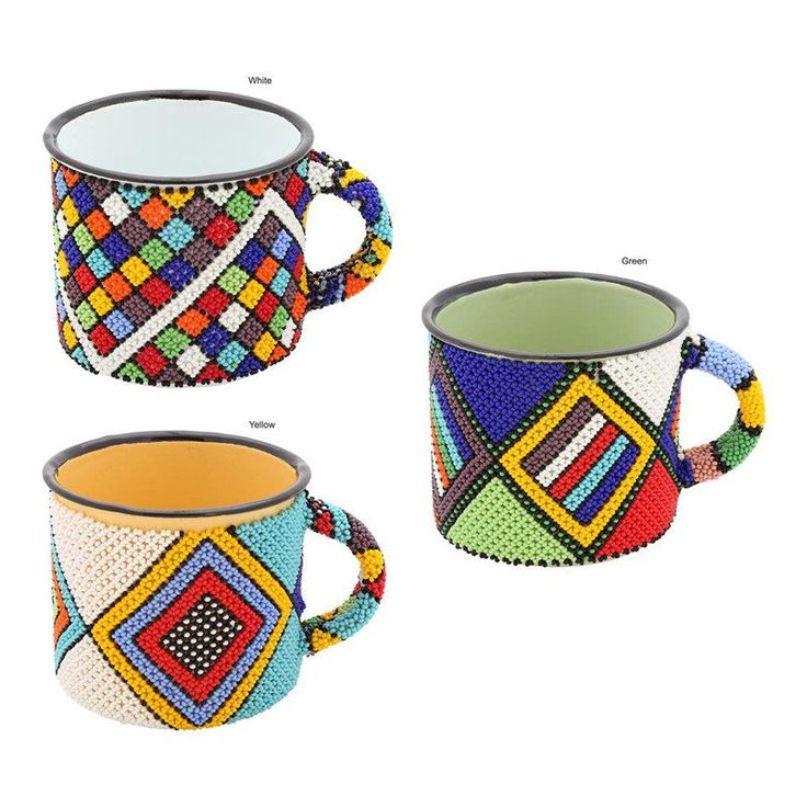 South African Beaded Enamelware Mug  Gone Rural Safari Curios has over 80 women making bead and telephone wire crafts in rural areas of KwaZulu-Natal, South Africa. Most are the primary breadwinners in their families. Typically, the women support around ten people.