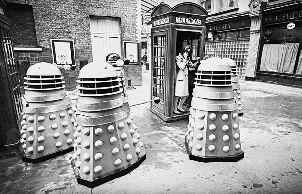 17th December 1965: Daleks invade a London street, outside Wyndams Theatre.