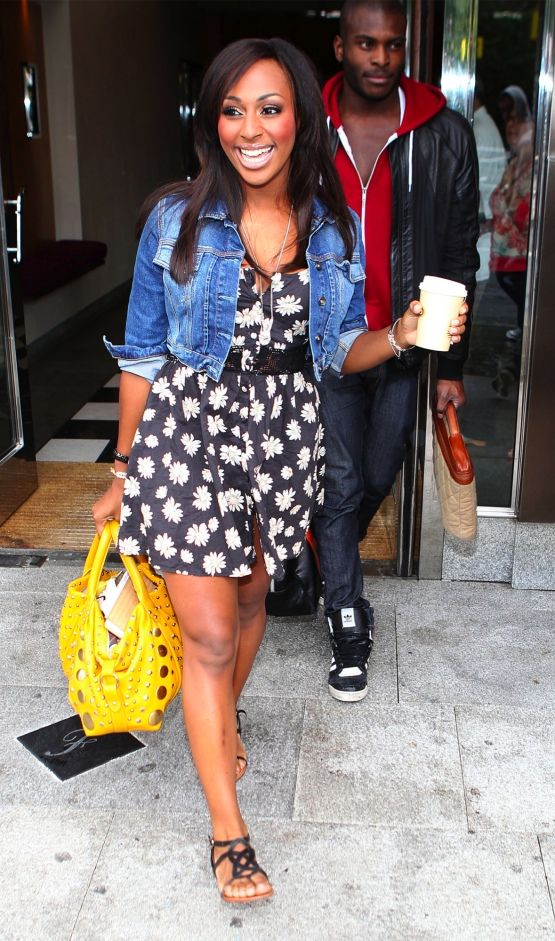 Alexandra Burke in Topshop Denim Jacket