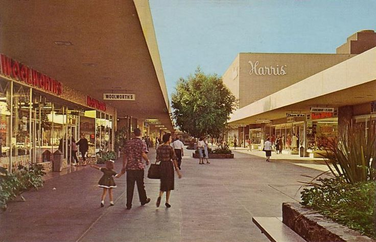 Malls of America - Vintage photos of lost Shopping Malls of the '50s, '60s & '70s. This is a picture of the Riverside Plaza in it's first incarnation. Not only will you find a lovely photograph here, but many heartwarming memories of this place as it was. People saw the Beach Boys play here before they were famous!