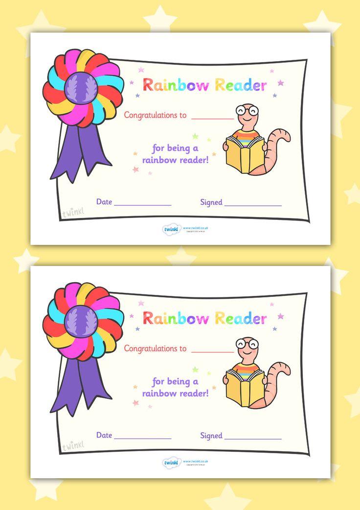 Twinkl Resources >> Editable Rainbow Reader Book Certificate  >> Classroom printables for Pre-School, Kindergarten, Elementary School and beyond! Certificates, Reading, Awards, Literacy