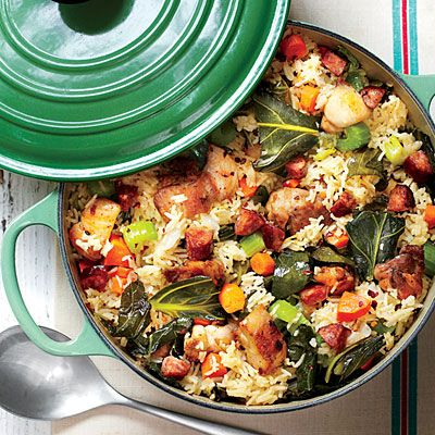 Chicken-and-Collards Pilau | Chicken, rice, and greens fill one soulful pot in our family-friendly take on a Lowcountry staple. Quick-cooking basmati rice helps turn this recipe into dinner in no time and stays fluffy throughout the entire cooking process.