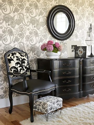 Black furniture against that lovely wallpaper... perhaps I should wallpaper one wall in small bedroom in these type wallpaper and then paint the rest the gray I have in mind with the black w stripe duvet I'm making/black with gold cornice board drapery and hopefully mirrored chest of some type. dream dream dream