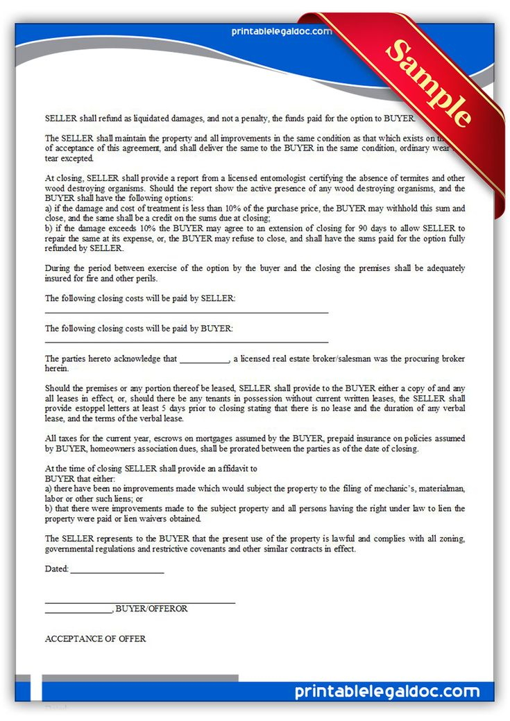 Free Printable Offer To Purchase Real Estate Legal Forms | Free ...