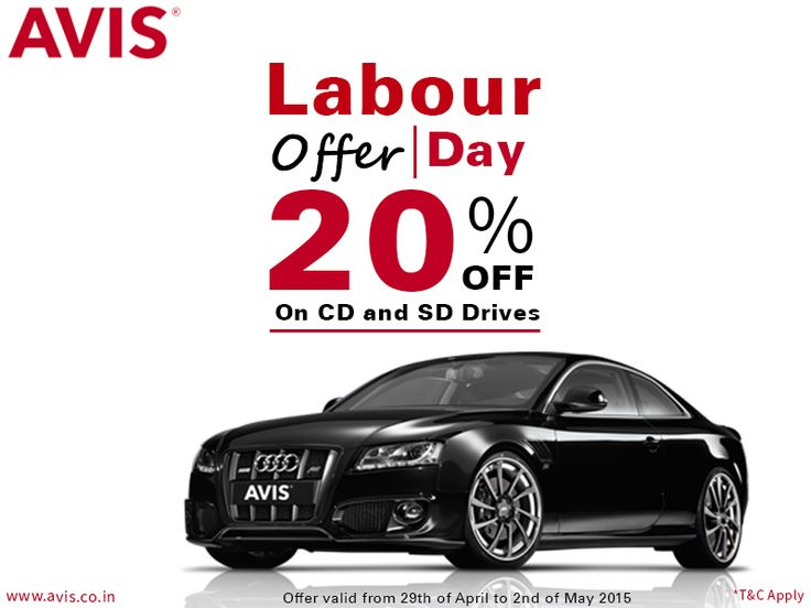 It's time for celebrations of your hard work as AVIS India launches its Labour Day offer at a Flat 20% on all Chauffeur drive and Self drive car rental. This offer is valid from 29th April to 2nd of May 2015. So hurry!!! Grab this offer to avail more discounts in future by becoming our valued customer.