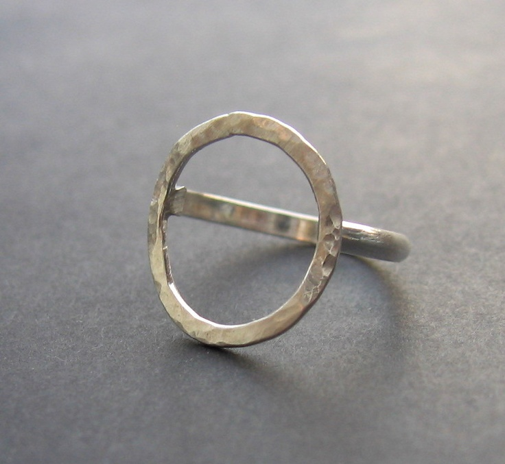 textured silver open circle ring IN YOUR SIZE. $35.00, via Etsy.
