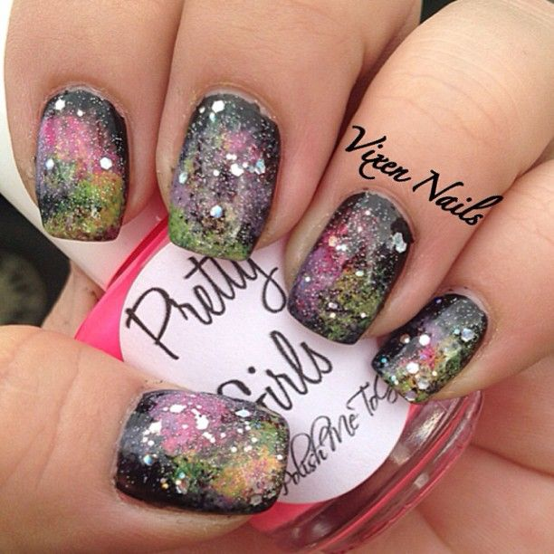 227 best images about nail art on pinterest nail art for Outer space nail design