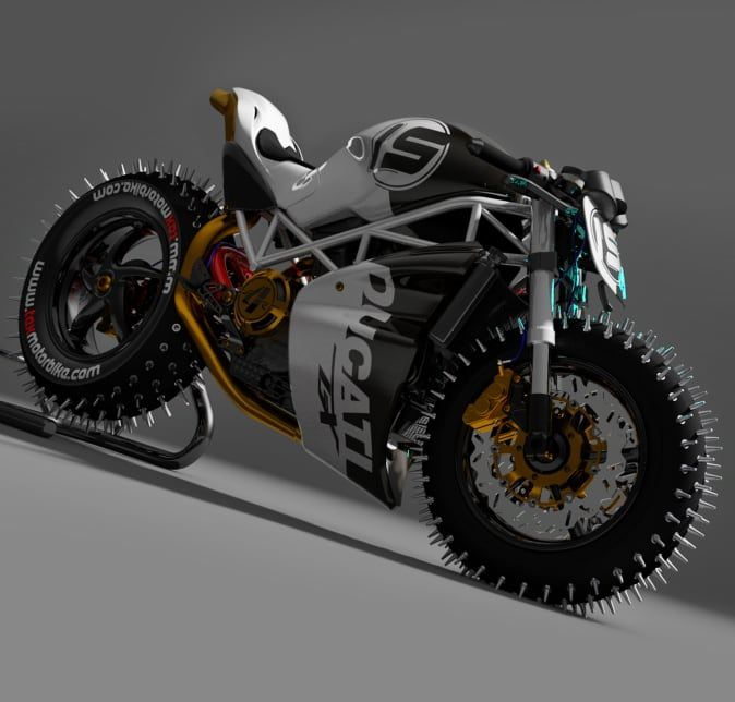 The Spike Wheeled Ducati Monster Of Ice Will Have You Wishing For A Longer Winter In 2021 Ducati Motorcycle Ducati Monster