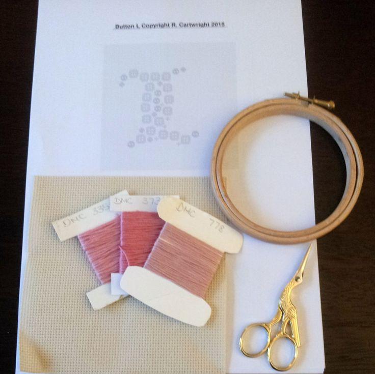 Cross stitch Monogram pattern / Button Art / 'L ' / counted cross stitch chart / Christening gift /Baptism gift / cross stitch pattern PDF by CraftwithCartwright on Etsy