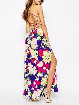 Multicolor Floral Tie Cross Back Split Maxi Dress