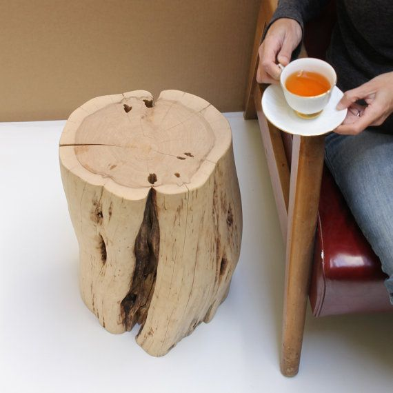 Stump Table Rustic Modern Stool Kiln Dried No by realwoodworks1