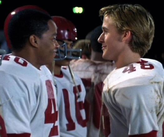 """Ryan Gosling in """"Remember the Titans,"""" this was one of my favorite movies growing up and I always loved the awkward blond guy who didn't know anything about music. I do not regret my childhood crush one bit!"""