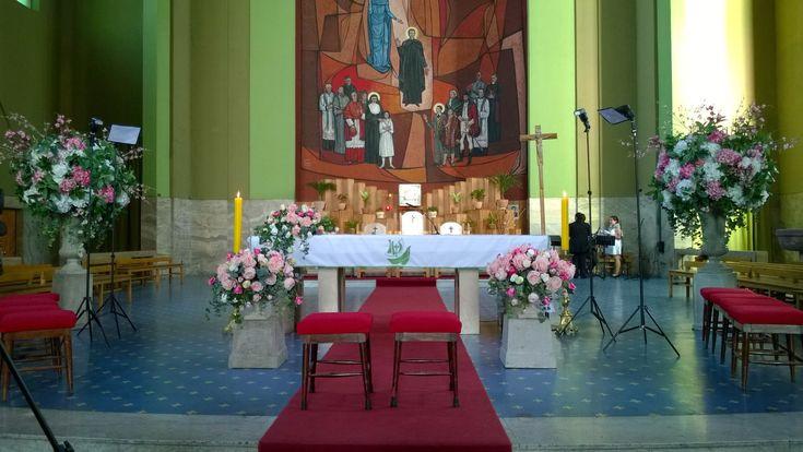 Iglesia San Bosco, Paradero 22 de Gran Avenida. Decoración floral de Flower Boutique Chile