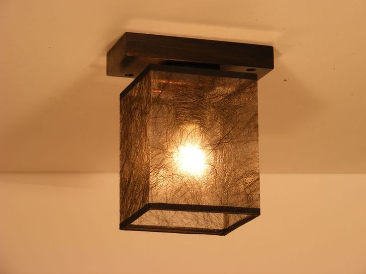 BASARI ceiling light wenge brown square wood base with one dark fabric lamp shade lightdaddy ...