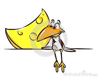 Fable crow and cheese cartoon illustration  image character