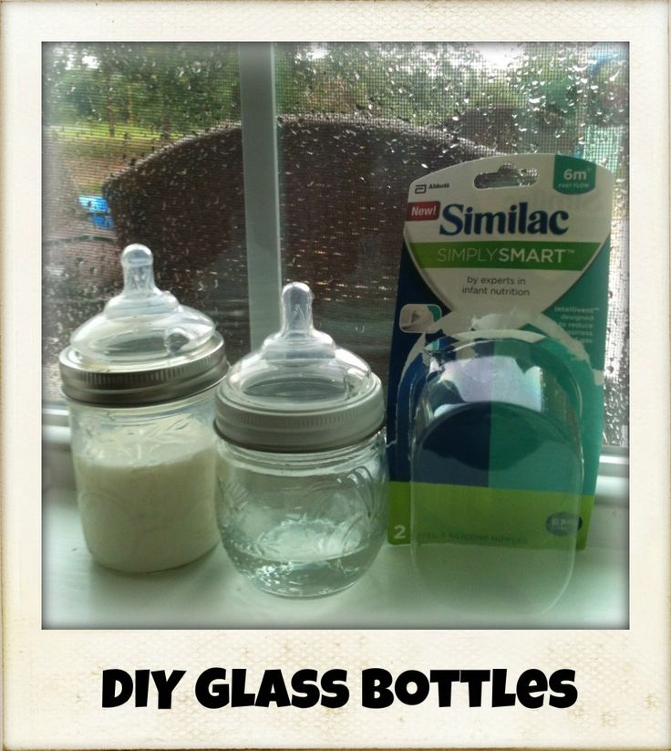 DIY Mason jar glass baby bottles. Have made sippy cups for my 3 yo out of mason jars and came up with this today. Small regular mouth mason jars and Similac simply smart nipples. Just make sure you line it up right when you tighten the ring. My 9 mo loved them!!!