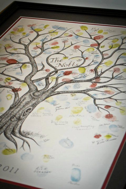 Tree guestbooks are original ink drawings. Every tree is different and can include small additions such as love birds, a swing, heart initials, or